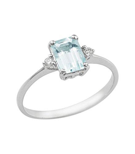 Anello in oro bianco 18k con acquamarina e diamanti - 22