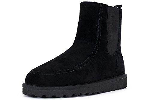 OZZEG Mode masculine nouveau conçu chaussures de bottes en peau de mouton hiver laine Noir