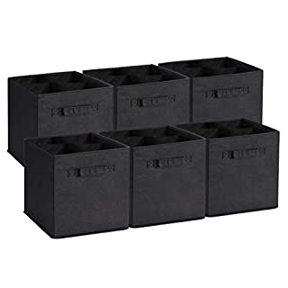 Umi. Boîtes de Rangement Ouvertes en Textile Non-Tissé,bacs de Rangement Pliable avec poignées Doubles pour Les tiroirs de pépinière de Garde-Robe, Lot de 6 l'organisation, Noir