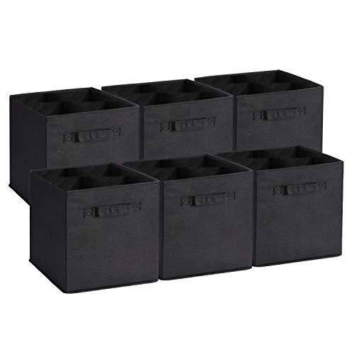 Umi. Essentials Cajas de almacenamiento de tela cubos organizadores con dos manijas para hogar armario cuarto de niños, plegable, negro, 6 pcs, 26,67 × 26,67 × 27,94 cm