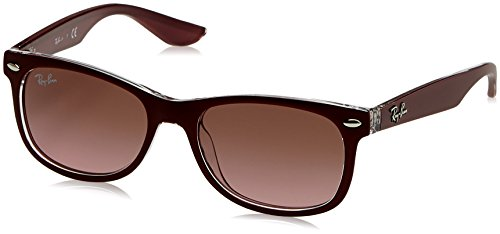 RAYBAN JUNIOR Unisex-Kinder Sonnenbrille New Wayfarer Junior, Matte Bordo On Transparent/Violetgradientbrown, 47