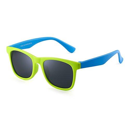 Polarisiert Kinder Sonnenbrille Gummi Jungs Mädchen Kids Flexibel Brille Alter 3-12 (Grün blau/Polarisiertes Grau)