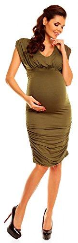 Zeta Ville - maternité - robe grossesse - sans manches - col V - femme - 525c Kaki