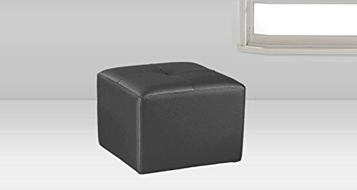 Adec - Pouf polipiel puff color Blanco, medidas 50 x 50 x 34 cm de alt