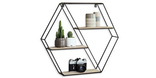 LIFA LIVING Etagere Murale Bois et Metal avec 3 Etageres, Bibliotheque Murale Design Hexagonale, Etagere de Rangement Murale Cuisine, Chambre et Salle de Bain, 58 x 51 x 11 cm
