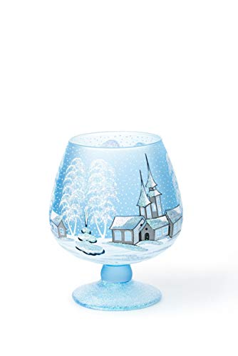 AROMA HOME STUDIO ART PAINTING Weihnachts Windlicht Leuchtglas, Winter-Design Frosty Weekend,...