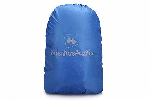 AdventureAustria Rucksack Regenschutz Rucksackhülle - für Wandern Radfahren Camping usw. Elastisch verstellbar & reflektierend. Passend für die meisten Rucksäcke. (Blau, Klein 15-35L) -