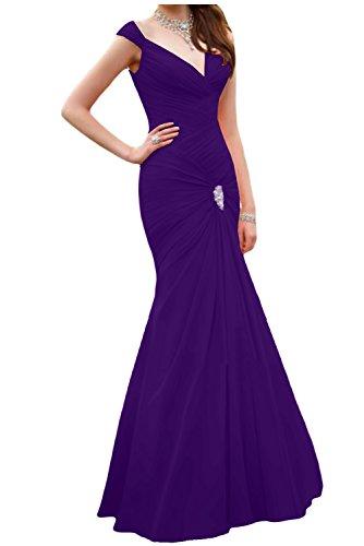 Gorgeous Bride Schlicht Meerjungfrau Traeger Chiffon Lang Brautjungfernkleid Abendkleid Ballkleid Violette
