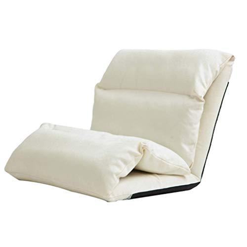 XEWNEG Liegestuhl Lounge Chai, Lazy Couch Einzel-Tatami-Sofa Faltbares Kissen Balkon Lounge Chair Rückenlehne Lazy Chair (65 × 53 × 56CM) (Farbe : Weiß)