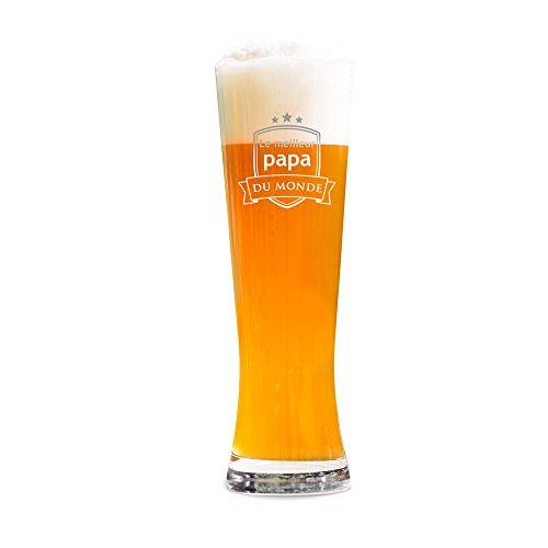 Amavel - Verre à bière avec Gravure - Le Papa du Monde - Motif Blason - Volume 0,5l - Verre à bière Blanche gravé - Cadeau d'anniversaire - Fête des pères - Noel