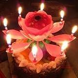 Geburtstagskerzen in einer schönen, musikalischen Lotusblume, Geschenk zum Geburtstag, Dekoration mit sich drehenden Kerzen