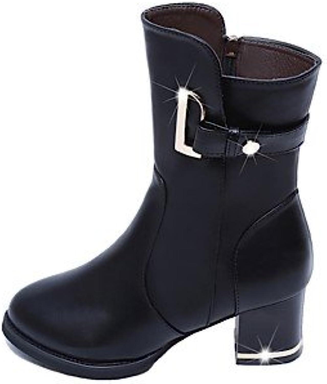 GLL&xuezi Mujer Botas Botas de nieve Botas de Moda Otoño Invierno Semicuero Casual Vestido Negro Amarillo 2'5...