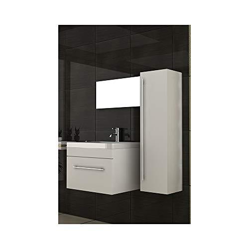 bad1a Badmöbel Set für das Badezimmer in 60x45 cm Weiß Hochglanz, Mineralguss Waschbeck