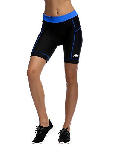 iCREAT Damen Radhose Kurz Hosen für Radsport Mit 4D Sitzhpolster Frauen Sport Leggings Radlerhose Gepolstert - Marine, L