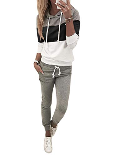 ORANDESIGNE Femmes 2 Pièce Survêtement Combinaison Sweats à Capuche Sweatshirts + Pantalon Joggers Ensemble de Sport Suit Noir 40