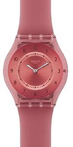 Swatch SFR103 - Reloj analógico de cuarzo para mujer con correa de plástico, color rojo de Swatch