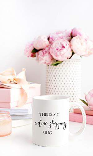 Mike21Browne Geschenk f¨¹r sie Dies ist Meine Online-Shopping-Tasse Kaffee Keramik Kaffeetasse Zitat inspirierende Tasse vorhanden Geschenk niedliche Kalligraphie motivierend
