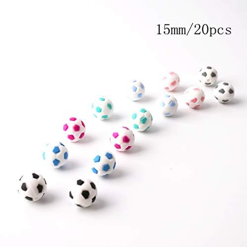 Mamimami Home 20 Stücke Baby Silikon Beißring World Cup Fußball Perlen DIY Halskette Kautable Armband Kinderkrankheiten Spielzeug