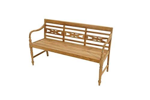 Hochwertige Gartenbank aus Echtholz/Teak Holz ? sehr wetterfest & langlebig/150cm breit/Holzbank/Ornament verziert