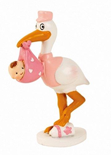 Babyfigur Windeltorte Tortenaufsatz Tortenfigur Geburt Taufe Baby | Storch mit Baby (8,5 cm / Rosa)
