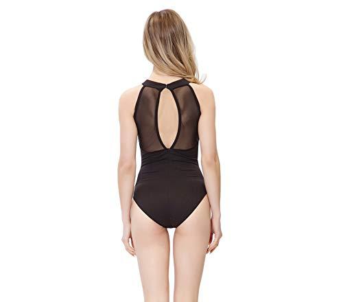 Limiles Damen Neckholder Bodysuit Keyhole Back Gymnastik Ballett Tanztrikot Tanzanzug Kostüme, Damen, Net, Small