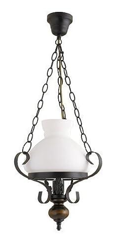 Rustikale Hängeleuchte mit E27 Fassung, Pendellampe Esszimmer Wohnzimmer, Abschluss aus Holz, Metall schwarz, Deckenlampe