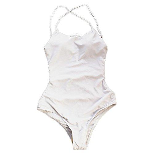 Bonjouree # Maillots de Bain Femme1 Pièce Sexy String Bikini de Plage Natation (Blanc, S)