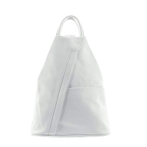 IO.IO.MIO leichter echt Leder Damenrucksack CityRucksack DayPack freie Farbwahl, 27-18x30x13 cm (B x H x T) (weiss)