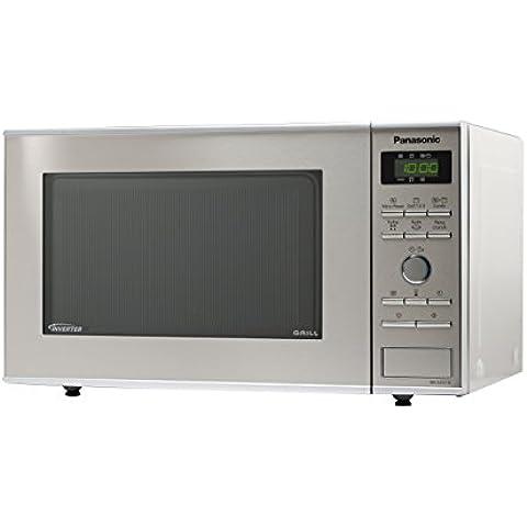 Panasonic NN-GD371SEPG - Microondas (950 vatios, 23 litros, grill Inverter y plato para hornear pizza), acero inoxidable