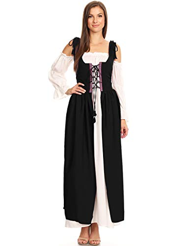 Anna-Kaci Damen Renaissance Mittelalter Retro Langarm Bier bar Kellnerin Magd Traditionell Kostüme Lang Maxi Kleid (Mittelalterliche Magd Kostüm)