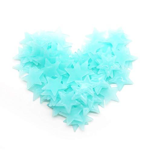 Meclelin Wandtattoos Leuchtend Leuchtsterne Deko Aufkleber Sterne Glow in The Dark Leucht Sternenhimmel Kunststoff (Blau)
