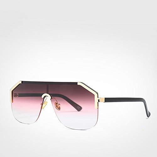 LXXSSRA Sonnenbrille Blau Übergroße Randlose Sonnenbrille Herren Neu Einteilige Objektivschutz Sonnenbrille Damen Uv400 Grüne Sonnenbrille