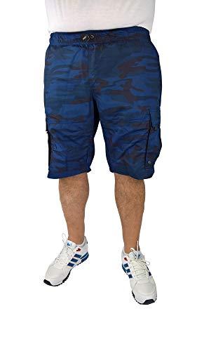 Cargo Plus Größe Shorts (Herren Schlupfbermuda im Cargo-Stil 60, 62, 64, 66, 68, 70, XL, XXL, 3XL, 4XL, 5XL, 6XL, Große Größen, Übergröße, Big Size, Plus Size (68/70, Blau Camouflage))