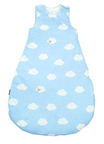 m, Babyschlafsack ganzjahres/ganzjährig, aus atmungsaktiver Baumwolle, Baby- und Kleinkindschlafsack unisex, Kollektion 'Kleine Wolke blau' ()