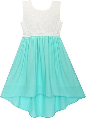 JN92 Girls Dress Hi-lo Maxi Chiffon Lace Polka Dot Necklace Party Age 8 Years