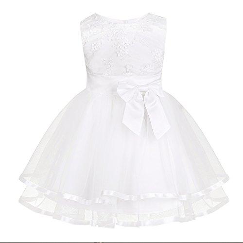 (iixpin Babybekleidung Baby-Mädchen Prinzessin Kleid Festzug Taufkleid Hochzeit Partykleid Mädchen Tüll Kleidung Blumenmädchenkleid mit Baumwollhose Weiß 80-86)