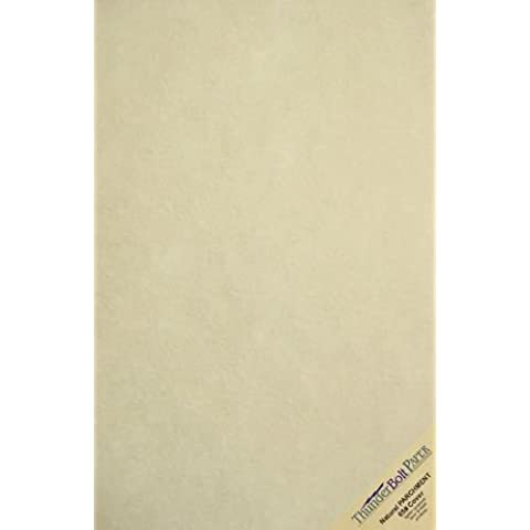 25 Natural Parchment 65lb Cover Paper Sheets 11 X 17 Inches Cardstock Weight Colored Sheets (11X17) Tabloid Ledger Size - Printable Old Parchment Semblance Through the Processing of the Pulp by ThunderBolt Paper