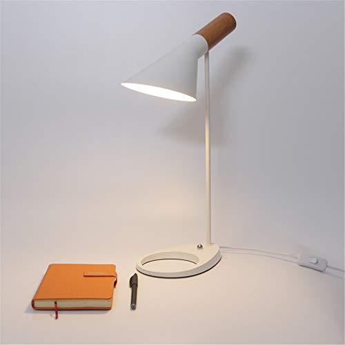 LIUWORDD Holz Korn Schmiedeeiserne LED-Tischlampe Einfache Moderne Kunst Beleuchtung auf und Ab Anpassung Schlafzimmer Nacht Augenschutz Leuchte (Keine Glühbirnen),White