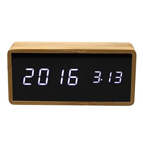 Nrpfell Reloj Despertador Digital Bamboo Alarm Clock