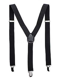 Boolavard Herren Damen Long Hosenträger Y Form Style 3er Clips elastisch Schmal Unifarbe und Bunt mit verschiedenen Motiv