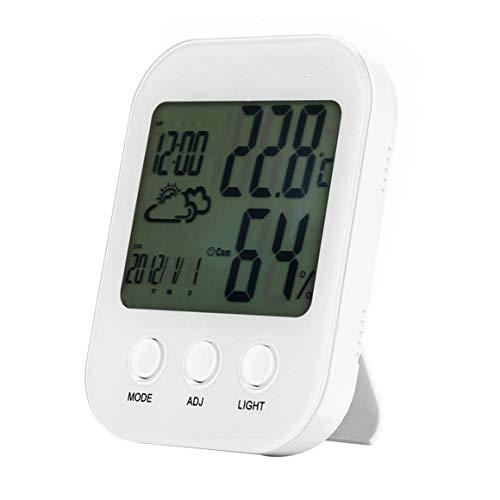 Foglunstore Hohe Präzision Baby Zimmer Digital Hygrometer Innenthermometer Multifunktionale Gauge Hintergrundbeleuchtung Temperatur Luftfeuchtigkeit Monitor (Farbe: weiß)
