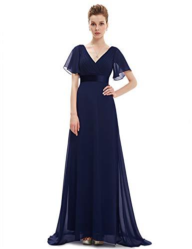 Ever-pretty chiffon femminile doppio scollo a v a line abiti da sera lunghi da ballo blu notte 48eu