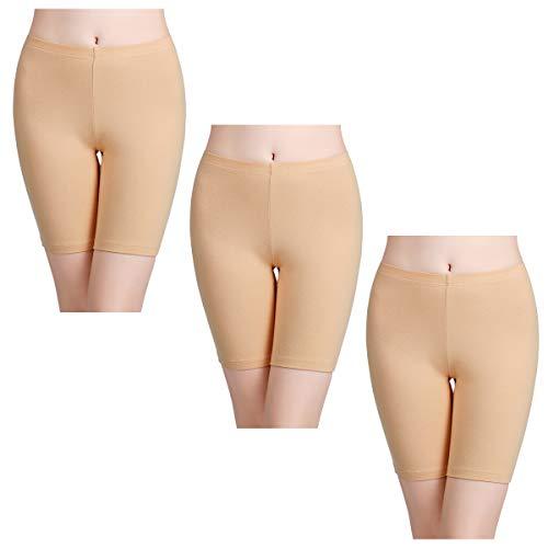 wirarpa Unterhosen Radlerhose Boxershorts Damen Hoher Bund Baumwolle Shorts Panties Lange Unterwäsche 3er Pack Beige Größe 54 (Lange Unterhosen)