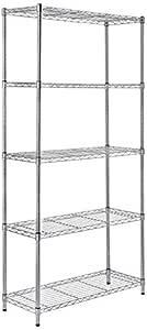 AmazonBasics Height Adjustable 5-Shelves Heavy Duty Rack - Chrome