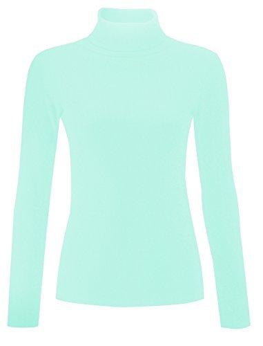 RE Tech UK Damen einfarbig gerippt Baumwolle Polo Schildkröte Rollkragen Tunika Top Pulli langärmelig Aqua neuwertig