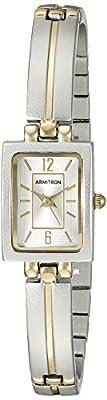 Armitron Women's 75/5331SVTT Rectangular Shaped Two-Tone Bangle Watch by Armitron