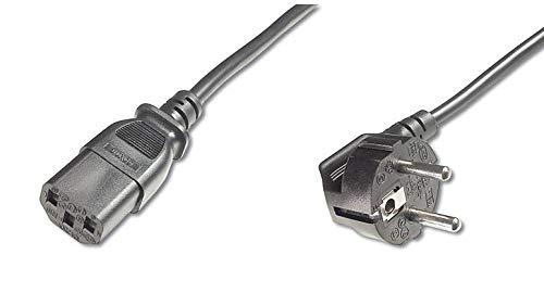 PremiumCord Netzkabel 230V 2m, Stromkabel mit Schutzkontakt gewinkelt auf Kaltgerätebuchse C13, IEC 320, PC Netzkabel 3 Polig, Farbe schwarz