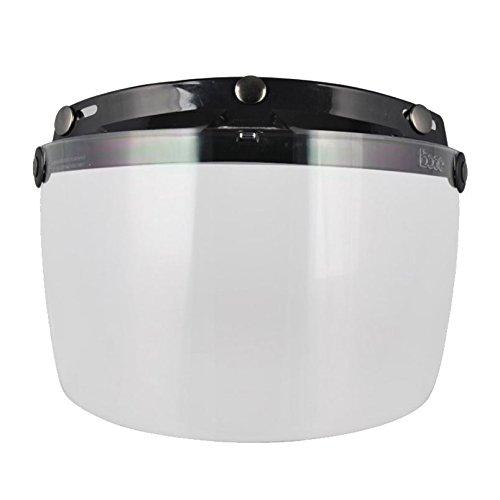 SODIAL(R) per moto con visiera per casco aperto di fronte per tre fibbie Casco Harley