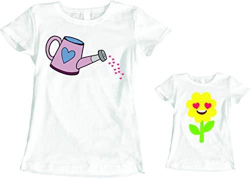 fashwork Coppia Magliette T-Shirt Madre Figlia Festa della Mamma Annaffiatoio e Fiori- Idea Regalo - in Cotone by