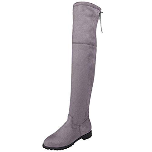 Upxiang Damen Overknee-Stiefel, Damen Schnalle Slim Hoch über dem Knie Trim Flache Stiefel Schuhe, Damen Lange Stiefel Reißverschlüsse Flache Schuhe Stiefel Knie Stiefel (36, Grau)